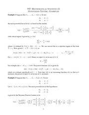 MATH 557 Hypothesis Testing Examples Notes
