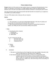 poetry essay engl102 Questionengl 102 poetry essay instructions in module/week 5, you will write a 750-word (34 pages) essay that analyzes 1 poem from the poetry unit before you begin writing the essay, carefully read the guidelines for developing your paper topic that are given below.