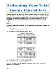 FSN 200 - Human Nutrition - Estimating total energy expenditure assignment