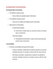 Exchange Rate Forecasting Notes