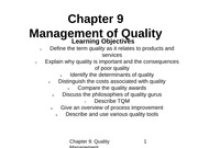 Chapter 9 - Quality Management