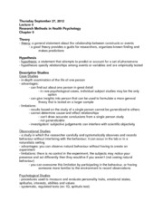 HP Lecture Research Methods in Health Psychology