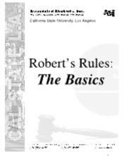 Roberts Rules.The Basics 7.10.07
