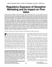 Regulatory Exposure of Deceptive Marketing and Its Impact on Firm Value.pdf