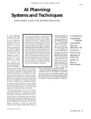 AI Planning-Systems and Technicques