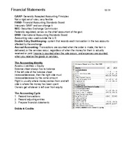 Financials Test 1 Study Guide