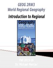 GEOG 2RW3 Lecture 02 - Introduction to Regional Geography