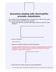 Questions dealing with electrophilic aromatic substitution