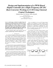 Design and Implementation of a PWM-Based Digital Controller for a High-Frequency DC-DC Buck Converte