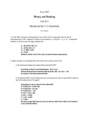 Money and Banking Problem Set 3.3 Answer
