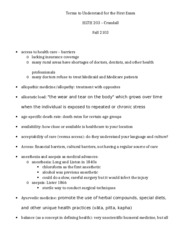 HLTH 203 Study Sheet for First exam