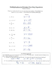one step part 2 equations notes