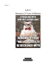 Lab 3 Newton's 2nd Law