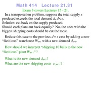 Lecture 21 on Linear Programming