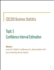 Topic 5 Confidence Interval Estiamtion (Student)