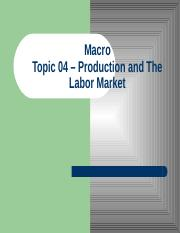 Topic 04 - Production and the Labor Market