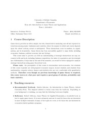 Econ421-Outline, Syllabus-Introduction to Game Theory and Applications-2013 Fall Term 1