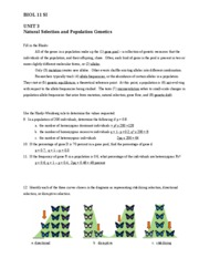 Unit 3 - Natural Selection and Population Genetics KEY
