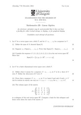 2B Linear Algebra Questions from Degree Exam 2012