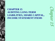 c15 Auditing Liabilities, Share Capital & Income Statement Items