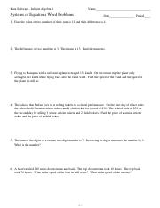 Worksheets Systems Of Equations Word Problems Worksheet kuta software infinite algebra 2 systems of equations word problems 1 name period date bea