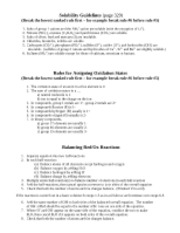 Handout solubility and Balancing RedOx