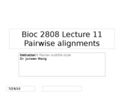 lect 11 pairwise alignment