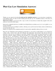 Phet Gas Law Simulation Answers.pdf - Phet Gas Law ...