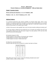 TO 313 Practice Problems Inventory Management II