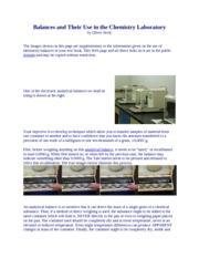 Balances and Their Use in the Chemistry Laboratory