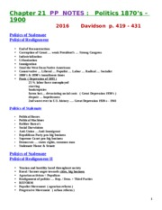 PP NOTES  HLC  Politics 1877-1900    SPRING   2016   HLC