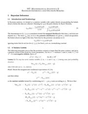 MATH 557 Bayesian Interference and Decision Making Notes