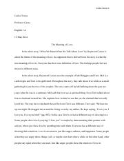 English 1A Short Story Essay