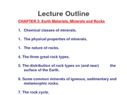 Lec 5 Ch 3 Minerals and Rocks
