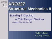 ARO327 - Lec 11 Bucking & Crippling of Thin-Flanged Sections