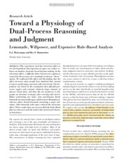 PSYC 178 Week 9 Toward a physiology of dual-process reasoning and judgment- Lemonade, willpower, and