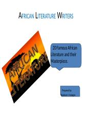 AFRICAN LITERATURE WRITERS