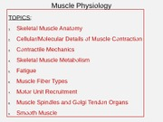 3 Muscle Physiology
