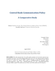 Central Bank Communication Policy