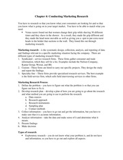 Chapter 4 Notes - Conducting Marketing Research