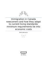 Immigration in Canada newcomers and how they adapt to current living standards.docx