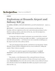 1ST WEEK 23.3 Explosions at Brussels Airport and Subway Kill 34 - The New York Times.pdf