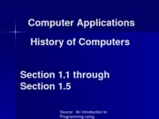 History of Computers 1.1 thru 1.5