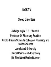 Sleep-handout(1) pdf - MOST V Sleep Disorders Jadwiga Najib