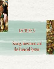 Lecture 5 S_I and the financial system FMT14 SP16