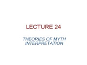 lecture 2608- theories of myth interpretation