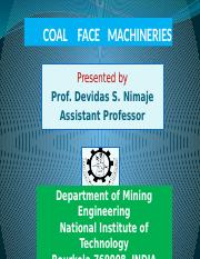 Coal face machinaries