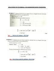 SOLUTIONS TO TUTORIAL 5 ON RADIATION HEAT TRANSFER