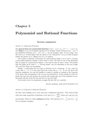 Polynomial and Rational Functions Summ