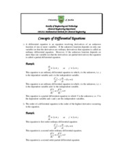 Concepts of Differential Equations